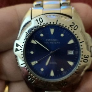 Mens Fossil Navy Blue Dial Stainless Steel Watch